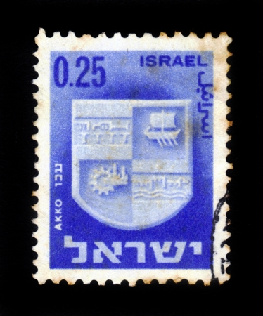 ISRAEL - CIRCA 1960  A stamp printed in Israel, shows coat of arms of Akko,  Israel, series , circa 1960 Stock Photo - 17990275