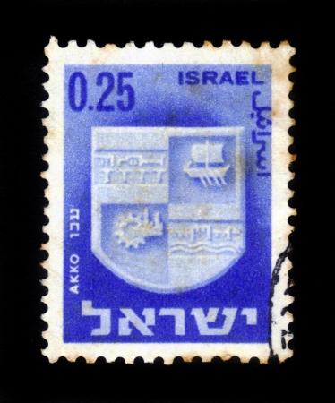 ISRAEL - CIRCA 1960  A stamp printed in Israel, shows coat of arms of Akko,  Israel, series , circa 1960