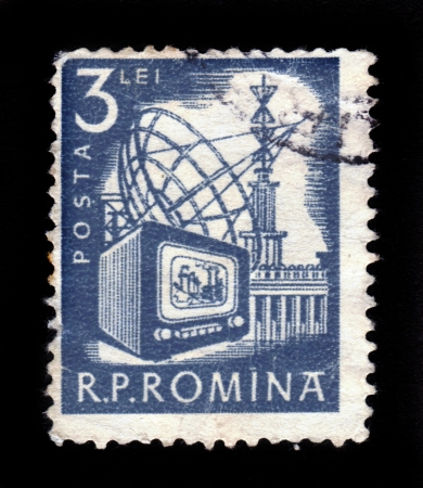 ROMANIA - CIRCA 1953  A stamp printed in Romania, shows satellite antenna , communication radio tower, circa 1953 Stock Photo - 17990257