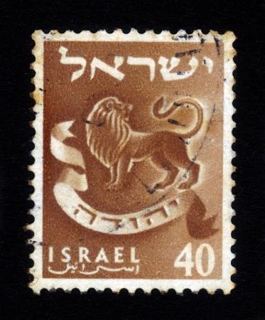 ISRAEL - CIRCA 1956  A stamp printed in Israel honoring twelve tribes of Israel shows Judah - lion s whelp, series emblems of the twelve tribes of Israel, circa 1956
