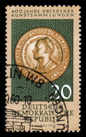 GDR - CIRCA 1960  A stamp printed in GDR  East Germany  shows ancient coin from collection of Dresden Gallery , series 400 years Dresden art collections, circa 1960