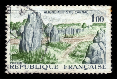 alignments: FRANCE - CIRCA 1965  A stamp printed in France showing alignments of Carnac, carnac stones, circa 1965 Stock Photo