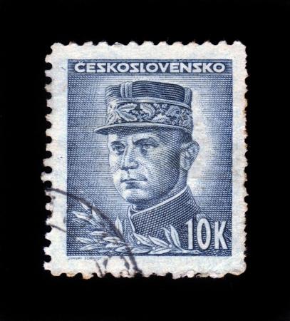 CZECHOSLOVAKIA - CIRCA 1945  a stamp printed in the Czechoslovakia shows portrait of general Milan Rastislav Stefanik, slovak politician, diplomat and astronomer, circa 1945 Stock Photo - 18145251