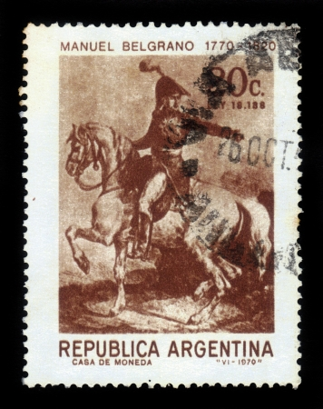 ARGENTINA - CIRCA 1970  A stamp printed in Argentina showing  lawyer, politician and General Manuel Belgrano, portrait in uniform on horseback, circa 1970 photo
