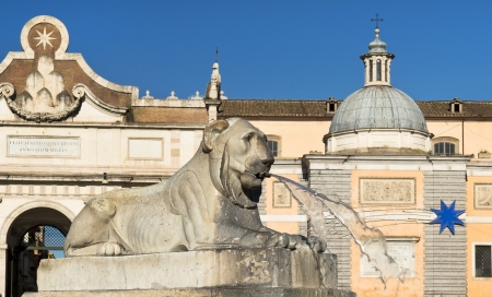 fountain in the form of a lying lion, Piazza del Popolo, Rome, Italy Stock Photo - 18149765