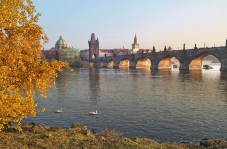 autumn landscape with views of the Charles Bridge in Prague, Czech Republic Stock Photo - 18149773