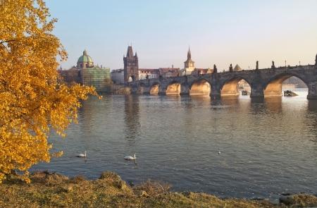autumn landscape with views of the Charles Bridge in Prague, Czech Republic Stock Photo - 18149773