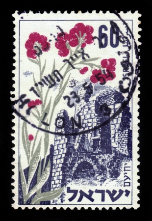 Israel - circa 1954: A stamp printed in Israel, shows fortress Yehiam , devoted to  the sixth Independence Day, memorial day for the fighters for Independence, circa 1954 Stock Photo - 18171446
