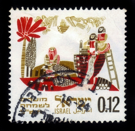 Israel - circa 1969: A stamp printed in Israel, shows the story of the Flood: construction of the ark of Noah , devoted to Joyous Festivals 5730, circa 1969