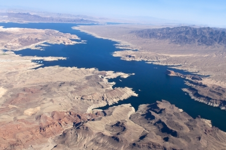 view of the Colorado River and Lake Mead, a snapshot taken from a helicopter on the border of Arizona and Nevada, USA Stock Photo - 18234514