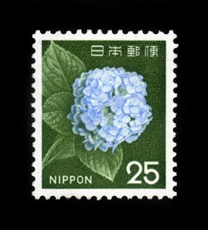 sello postal: JAP�N-alrededor de 1962 Un sello de correos impreso en Jap�n y muestra la imagen de la flor floreciente japon�s, alrededor del a�o 1962