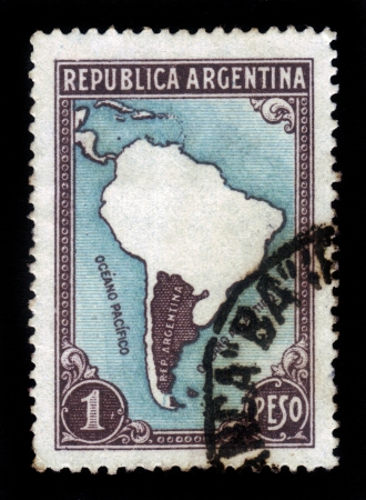 ARGENTINA - CIRCA 1935: A stamp printed in Argentina showing map of Argentina, circa 1935 Stock Photo - 18222652