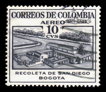 COLOMBIA - CIRCA 1945  A stamp printed in Colombia shows church Recoleta de San Diego, Bogota, circa 1945 Stock Photo - 18302904