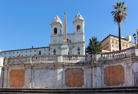 view of the church of Trinita dei Monti and the obelisk in front of her from the Spanish Steps, Rome, Italy Stock Photo - 18410999