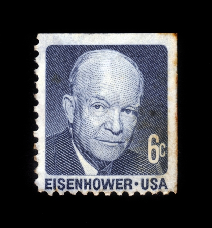 eisenhower: USA-CIRCA 1970:A stamp printed in USA shows image of the Dwight David Ike Eisenhower was a five-star general in the United States Army and the 34th President of the United States, circa 1970. Editorial