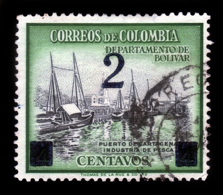 COLOMBIA - CIRCA 1970  A stamp printed in Colombia shows fishing boats in port of Cartagena, circa 1970