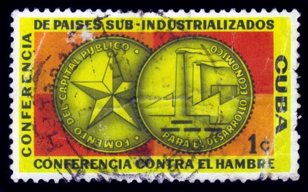 industrialized country: Cuba - CIRCA 1960  A stamp printed in Cuba shows medal dedicated to sub-industrialized countries conference in Havana, circa 1960