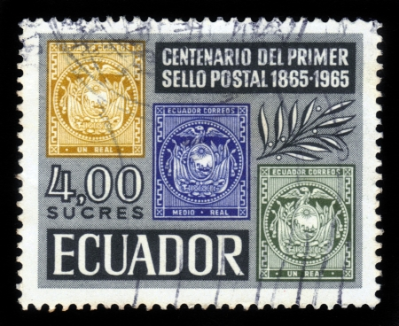 Ecuador - CIRCA 1965  A stamp printed in Ecuador shows national coat of arms of Ecuador, dedicated to the centennial of mail of Ecuador, circa 1965 Stock Photo - 18496984