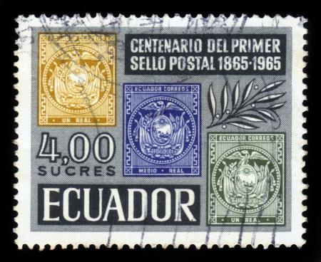 Ecuador - CIRCA 1965  A stamp printed in Ecuador shows national coat of arms of Ecuador, dedicated to the centennial of mail of Ecuador, circa 1965 Stock Photo - 18496984