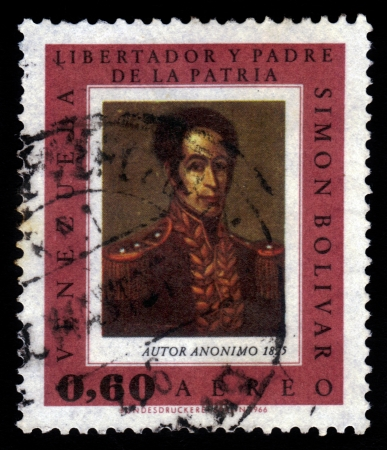 VENEZUELA - CIRCA 1966  A stamp printed in Venezuela shows portrait of Simon Bolivar, by an unknown artist, circa 1966 Stock Photo - 18480117
