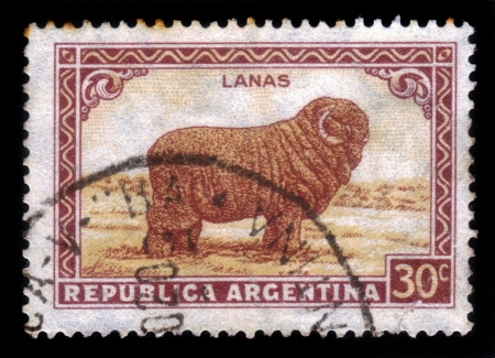 ARGENTINA - CIRCA 1936: a stamp printed in the Argentina shows Merino Sheep, Wool, circa 1936 Stock Photo