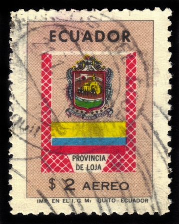 loja: Ecuador - CIRCA 1965: A stamp printed in Ecuador shows coat of arms of Loja province, circa 1965 Stock Photo