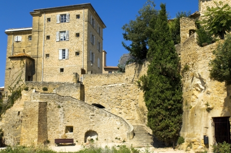 lourmarin: old stone house built on the rock, region of Luberon, Provence, France