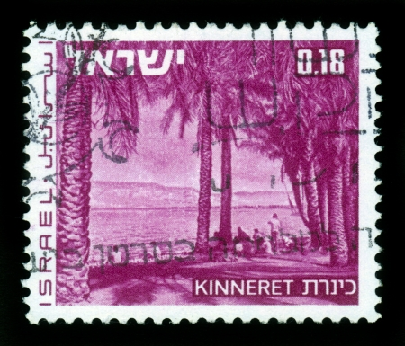 ISRAEL - CIRCA 1971: A stamp printed in Israel, shows lake Kinneret ( Sea of Galilee ), series