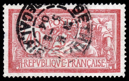 allegory: FRANCE - CIRCA 1904  stamp printed by France, shows Liberty and Peace allegory, circa 1904