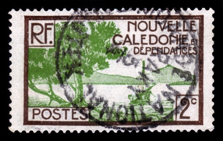 collectivity: NEW CALEDONIA - CIRCA 1928  stamp printed by New Caledonia, special collectivity of France, shows Bay of Paletuviers Point, circa 1928