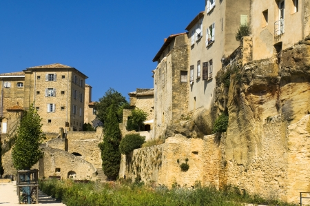 luberon: old stone houses built on the rock, region of Luberon, Provence, France
