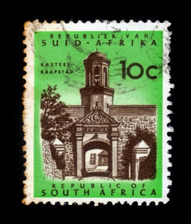rsa: SOUTH AFRICA - CIRCA 1961: A stamp printed in South Africa RSA shows Cape Town Castle entrance, Kaapstad, the castle of Good Hope is a star shaped fort, built 1666-1679 circa 1961