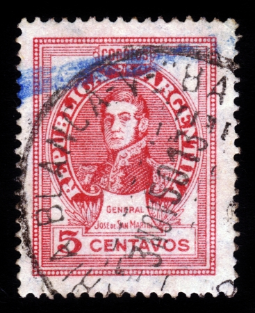 ARGENTINA - CIRCA 1945: A stamp printed in the Argentina shows a national hero, general Jose de San Martin, circa 1945