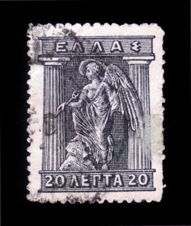 CREECE - CIRCA 1911  stamp printed in Greece shows Iris, in greek mythology, the personification of the goddess of the rainbow, the winged messenger of Zeus and Hera, circa 1911 Stock Photo - 19010080