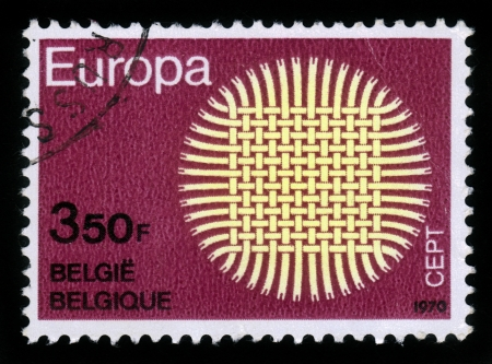 Belgium - CIRCA 1970  A stamp printed in Belgium shows weave in the form of the sun and the word CEPT  European Conference of Postal and Telecommunications , circa 1970 Stock Photo - 19010086