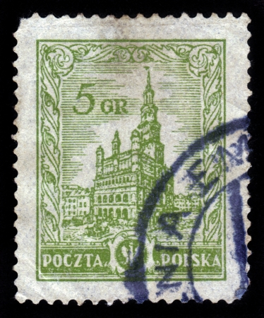 POLAND - CIRCA 1934  A stamp printed in Poland shows Warsaw City Hall, circa 1934 Stock Photo - 19010083