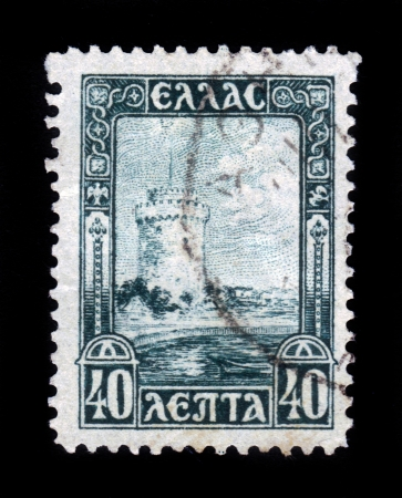 GREECE - CIRCA 1927  a stamp in Greece  shows image of the White Tower of Salonika, circa 1927 Stock Photo - 19010081