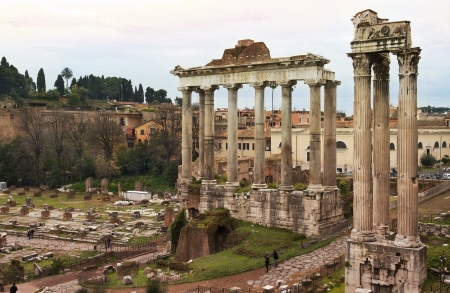 ancient ruins of the antique Roman temples, Rome, Italy Stock Photo - 19016947
