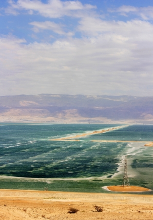 judean hills: dead sea in windy weather, the view from the heights of the Judean Hills, Israel