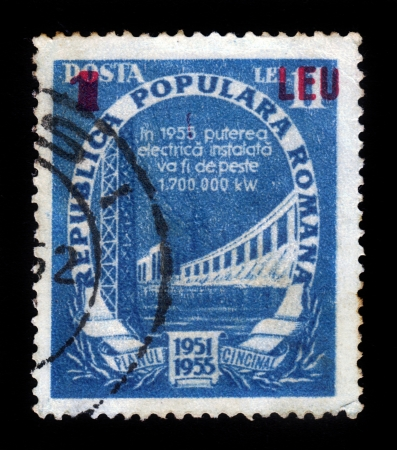 ROMANIA - CIRCA 1955: A stamp printed in Romania shows a hydro power plant, circa 1955 Stock Photo - 19257246