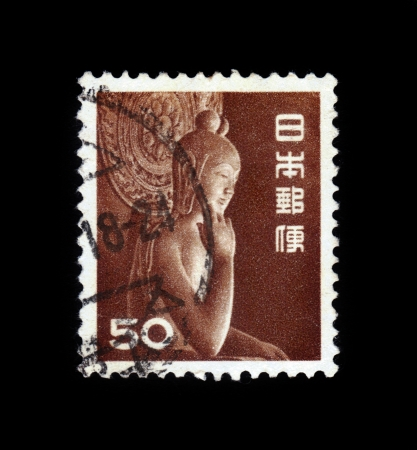 JAPAN - CIRCA 1966: A stamp printed in Japan shows Miroku Bosatsu wood statue in Chugu-ji, Nara perfecture, circa 1966. Stock Photo - 19257243