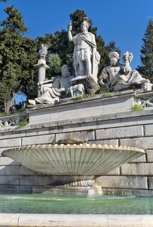 fountain at the foot of statue of Romulus and Remus, the founders of Rome, Piazza del Popolo, Rome, Italy Stock Photo - 19403669