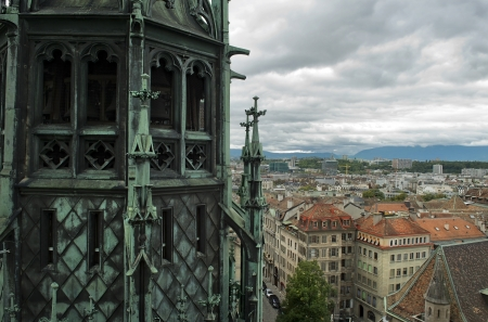 panoramic view of Geneva from the height of the north tower of the Cathedral of Saint-Pierre, Switzerland Stock Photo