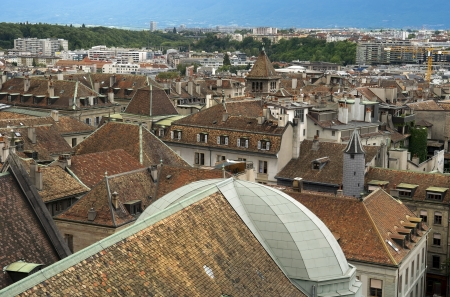 view of the old Geneva with the height of the Cathedral of Saint-Pierre, Switzerland
