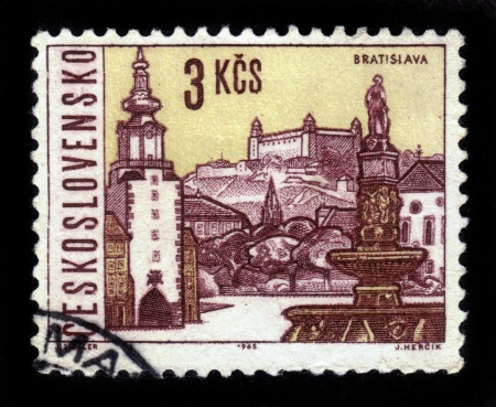 CZECHOSLOVAKIA - CIRCA 1965  A stamp printed in Czechoslovakia shows attractions of Bratislava, the capital of Slovakia, circa 1965 Stock Photo - 19391253