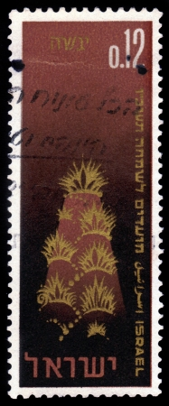 sukkoth festival: ISRAEL - CIRCA 1965  A stamp printed in Israel shows symbolic representation of the land, the Creation, as described in Genesis, chapter 1,circa 1965