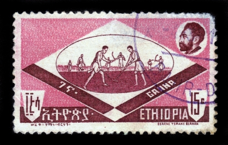 ETHIOPIA - CIRCA 1962   stamp printed in Ethiopia shows championship of field hockey, ganna , circa 1962