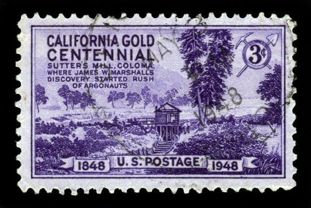 gold rush: UNITED STATES - CIRCA 1948  a stamp printed in United States shows an image of hut of gold diggers, gold discovered at Sutter s Mill started a westward migration known as the California Gold Rush, circa 1948
