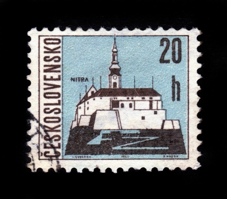 CZECHOSLOVAKIA - CIRCA 1965  A stamp printed in Czechoslovakia shows Nitra Castle, western Slovakia, situated at the foot of Zobor Mountain in the valley of the river Nitra, circa 1965