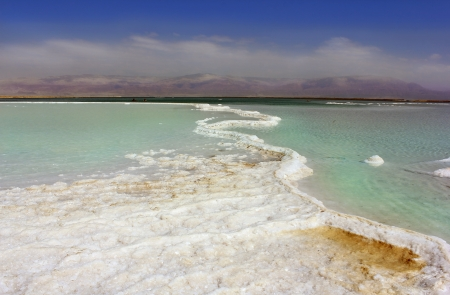 salt deposits and view of the mountains, Dead Sea, Israel
